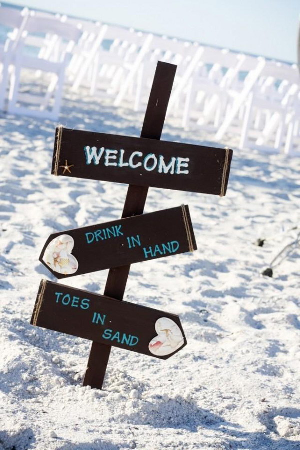 beach wedding decor sign