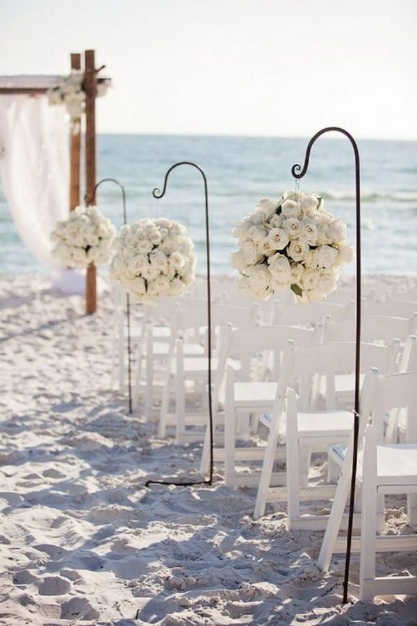 Beach Wedding Aisle Decoration with Flower Balls.