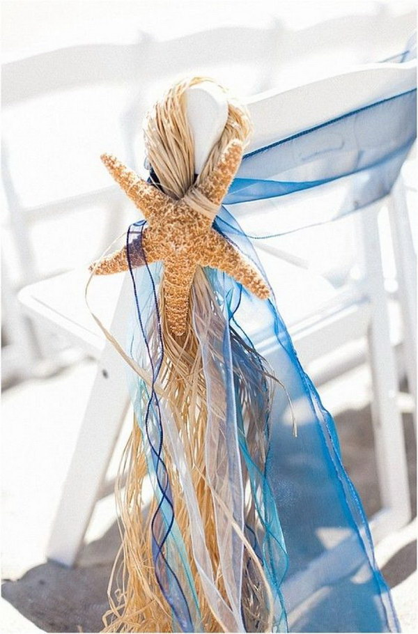 Chair Decoration with Sheer Ribbon and Starfish.