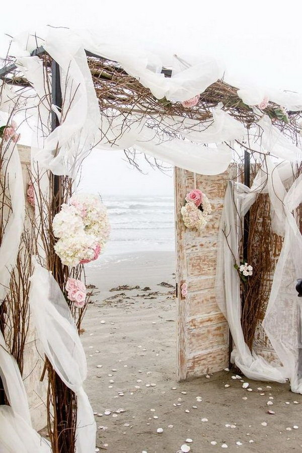 Rustic Beach Wedding Arch.