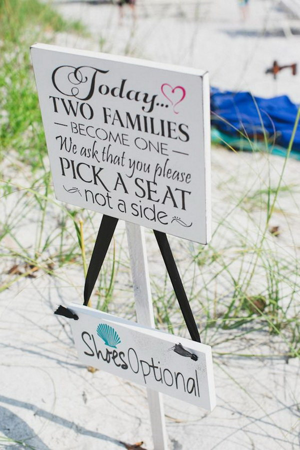 Beach Wedding Sign in Turquoise and Pink.