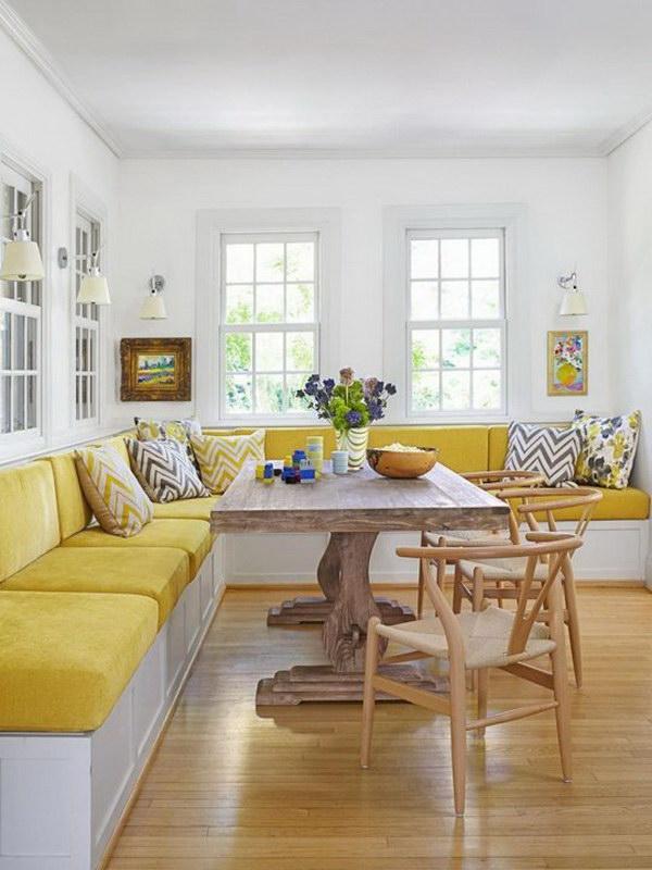 Fresh Yellow Cushions Make This Breakfast Nook Elegant.