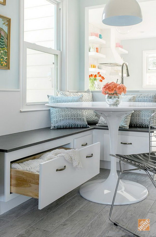 White and Gray Breakfast Nook with Built in Storage.