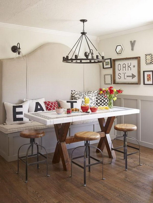 Breakfast Nook with Customized Decorative Pillows.