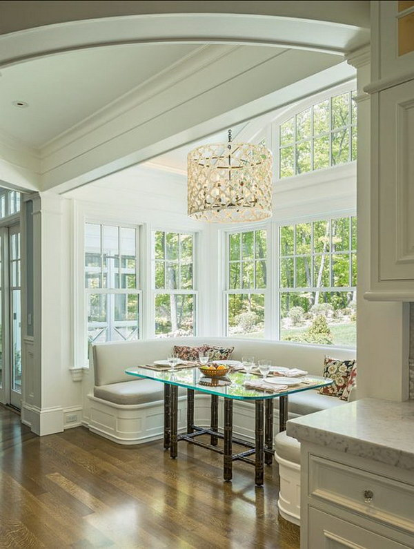 Modern Breakfast Nook with Expensive Window System.