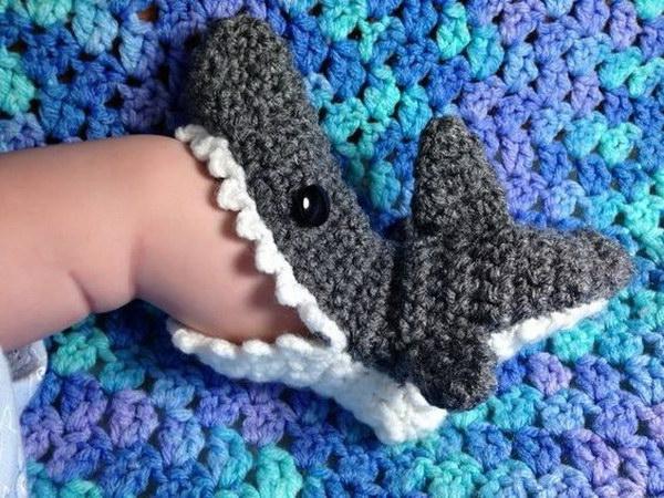 Crochet Shark Slippers.