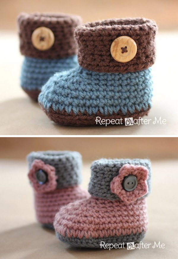 Crochet Baby Booties Pattern For Free : 20+ Adorable Crochet Patterns for Babies