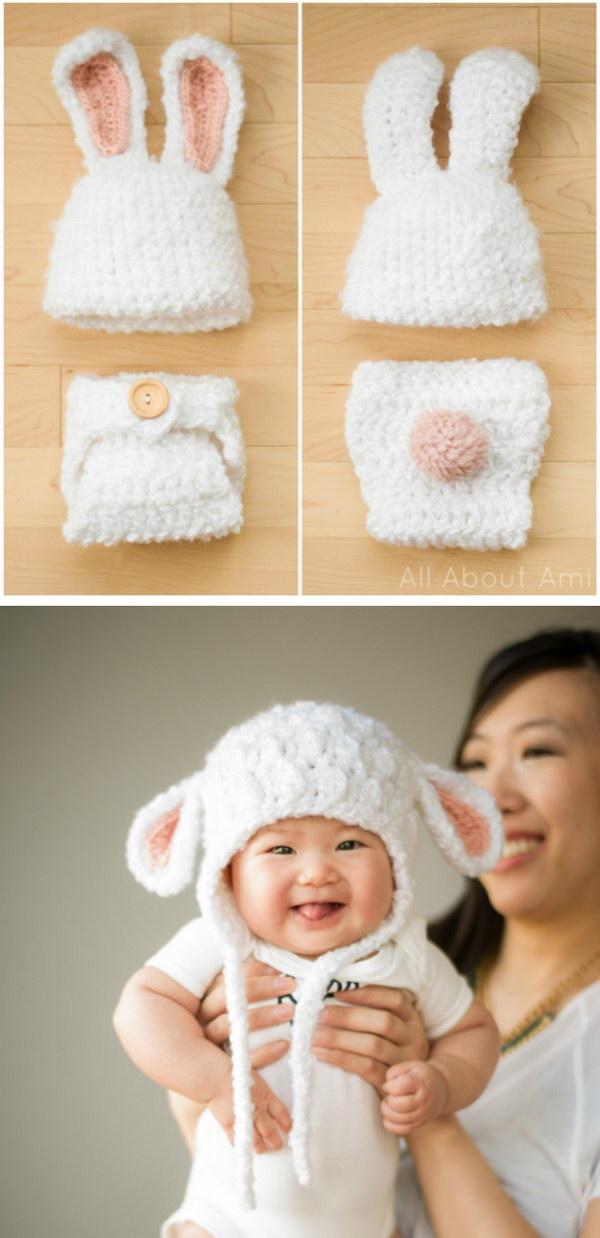 Crochet Baby Lamb Hat.