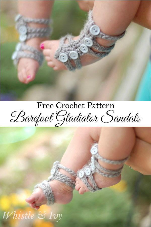 Baby Barefoot Gladiator Sandals.