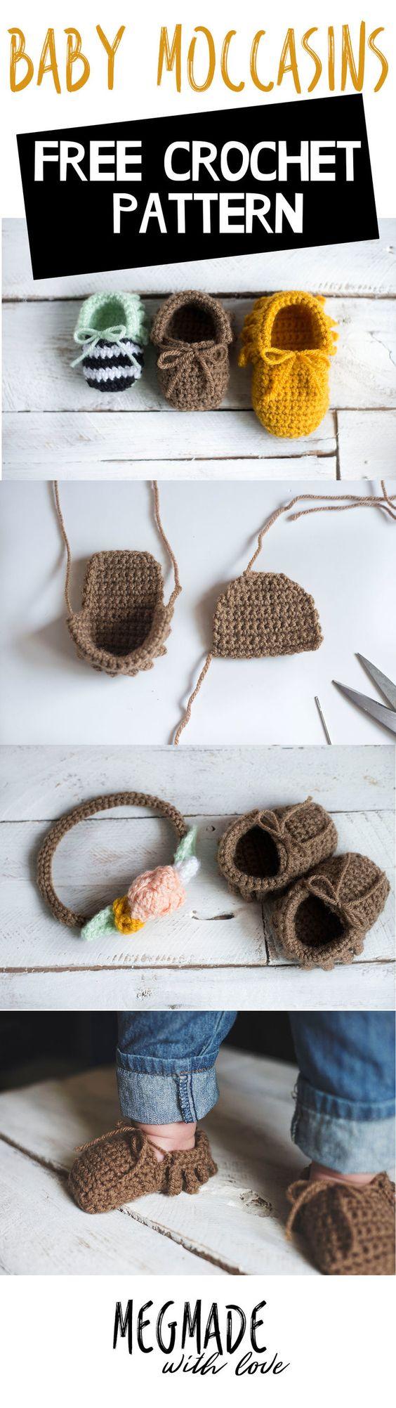 Crochet Baby Moccasins Pattern.
