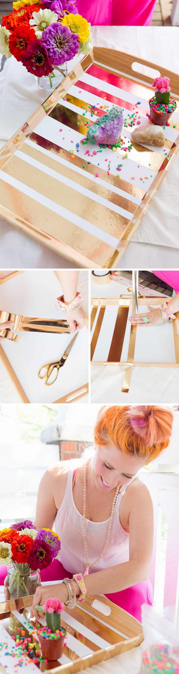 DIY Gold Taped Serving Tray.