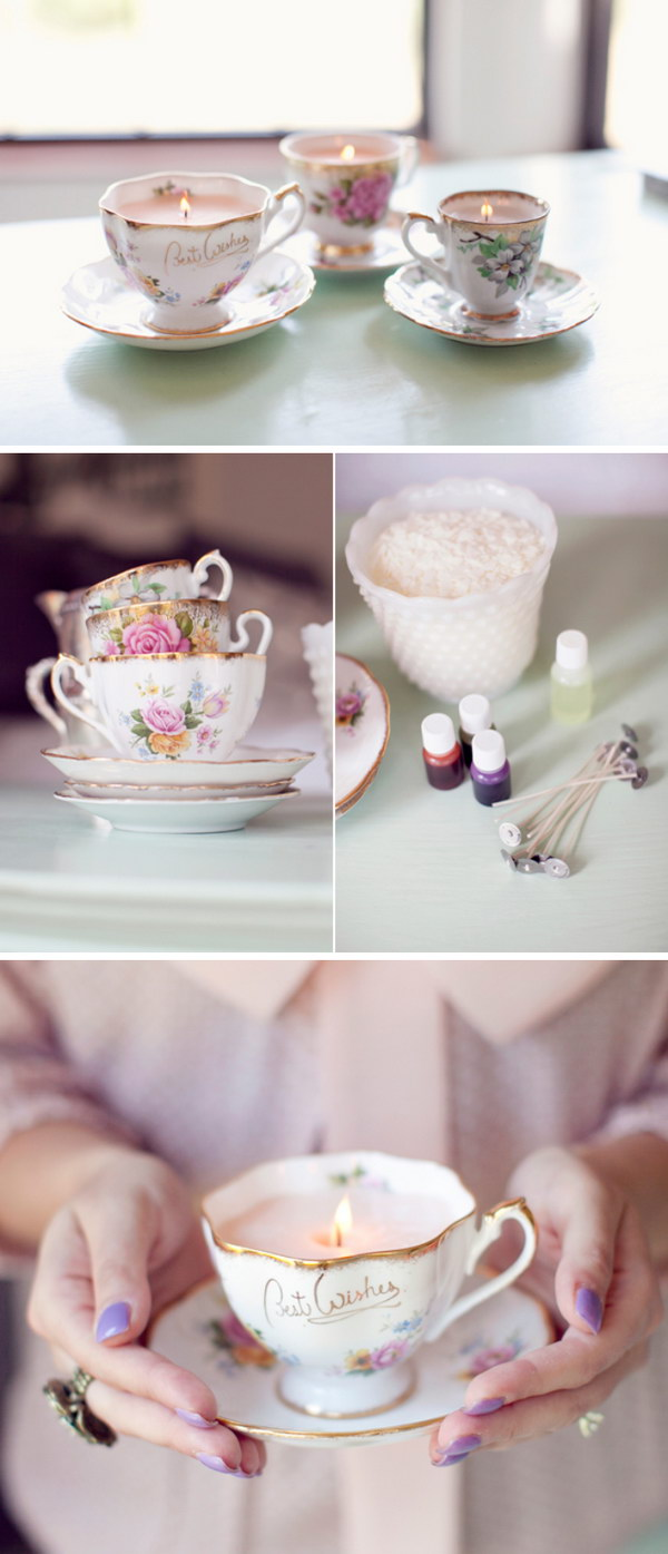DIY Vintage Teacup Candles.