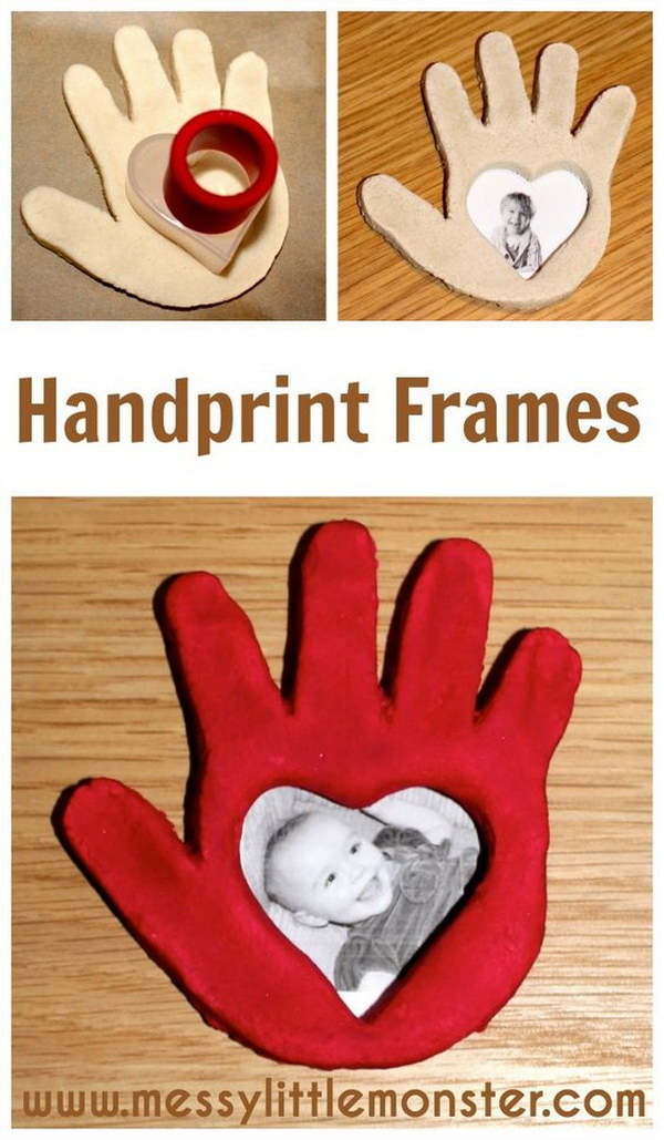 Heart Shaped Salt Dough Handprint Frame.