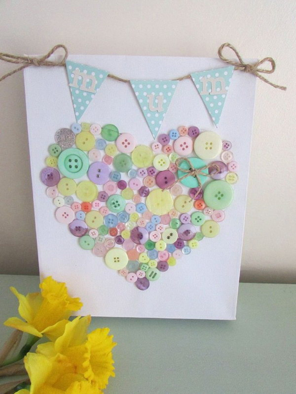 DIY Heart shaped Bunting and Button Canvas.