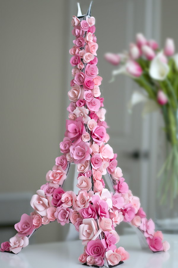 3D Paper Flower Eiffel Tower.