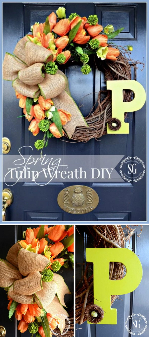 DIY Spring Tulip Wreath.