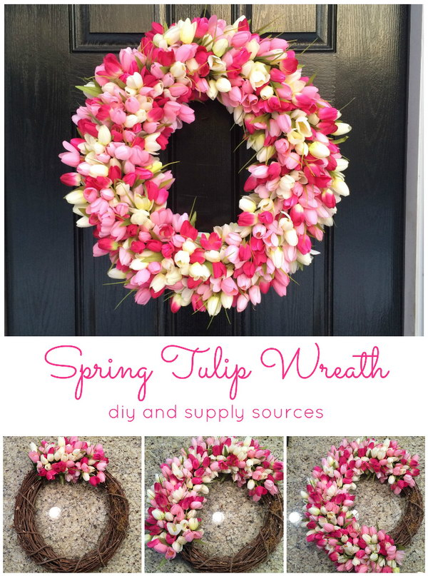DIY Spring Tulip Wreath.