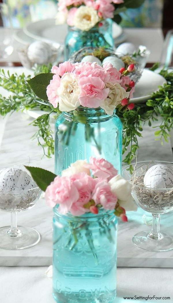 Spring Table Decoration with Mason Jars and Fresh Flowers.