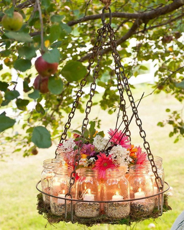 DIY Garden Chandelie Made with  Mason Jars.