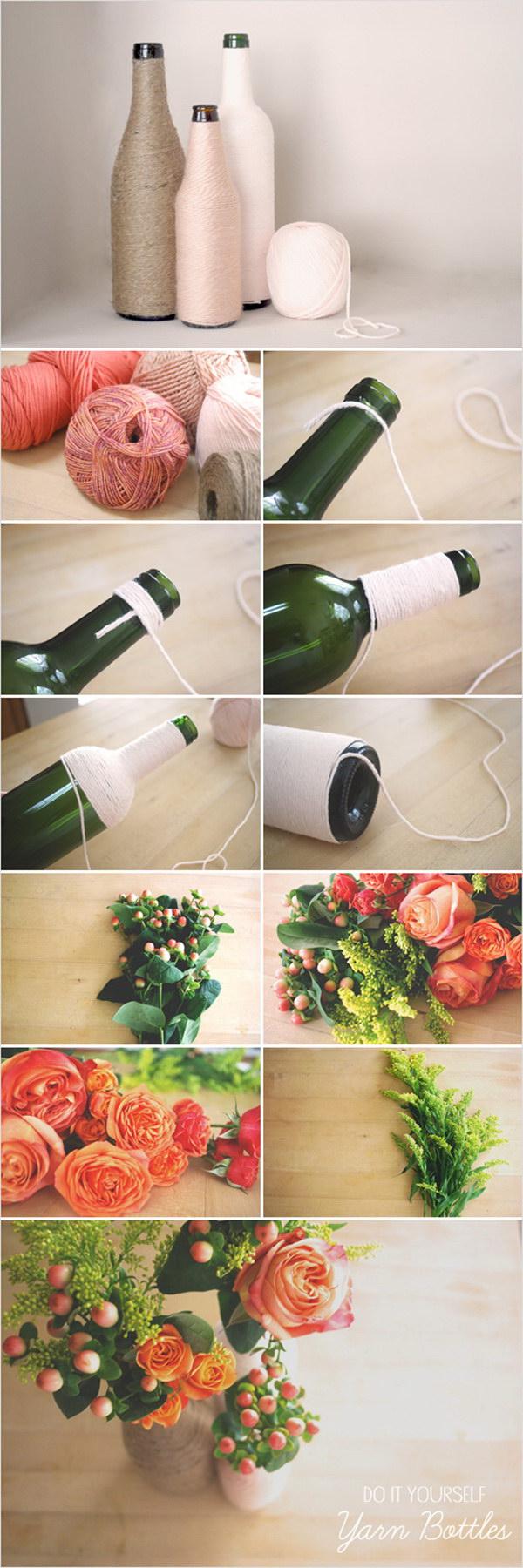 DIY Yarn Wrapped Bottles.