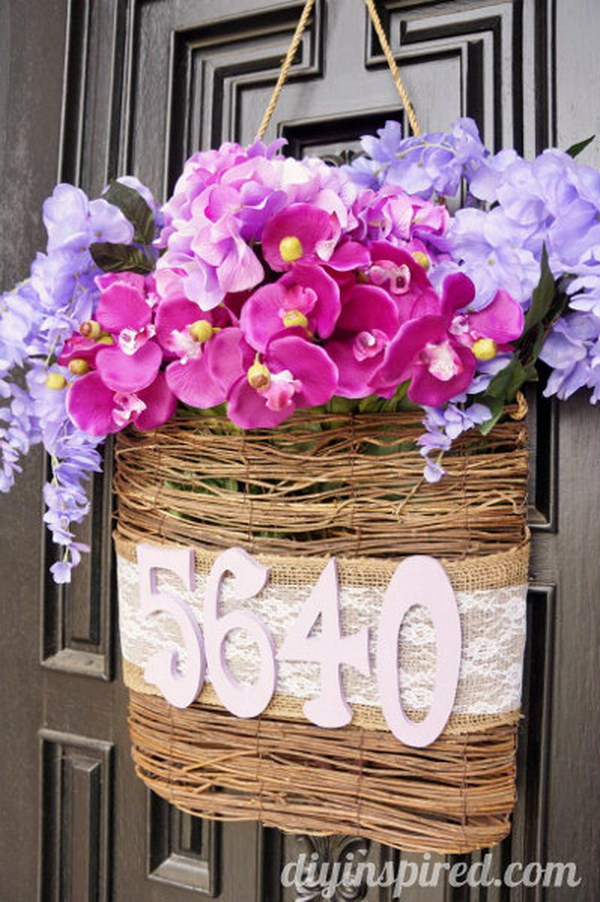 Radiant Orchid DIY Spring Door Decoration.