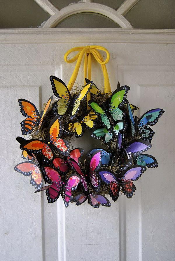 DIY Butterfly Wreath.