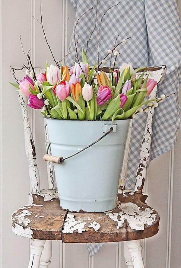 Tulips Display in the Metal Bucket.