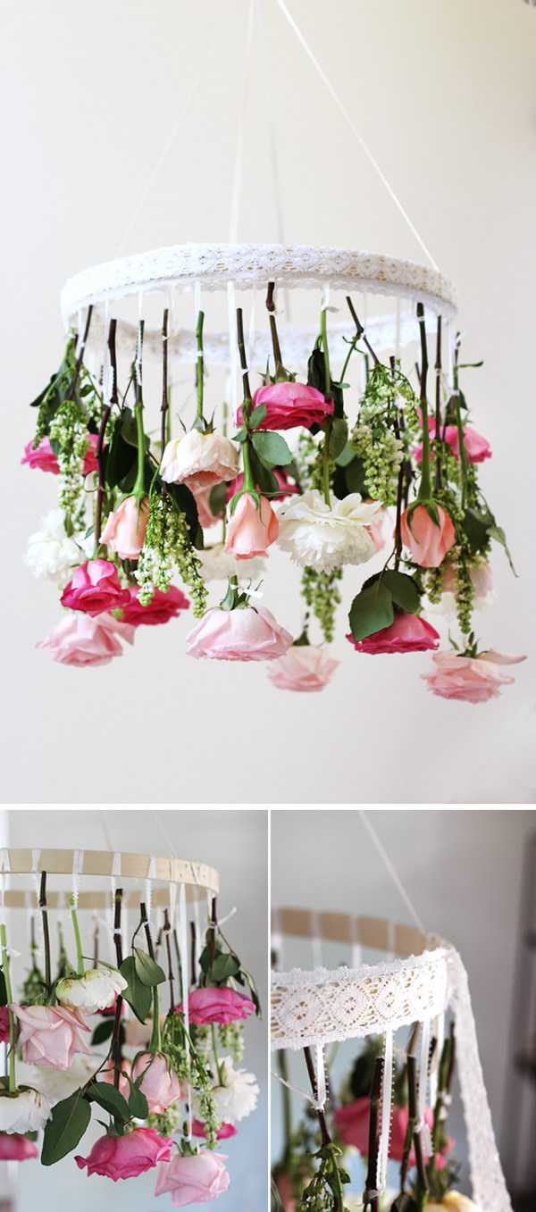 30 beautiful diys for your spring decoration 2017 diy flower chandelier aloadofball Image collections