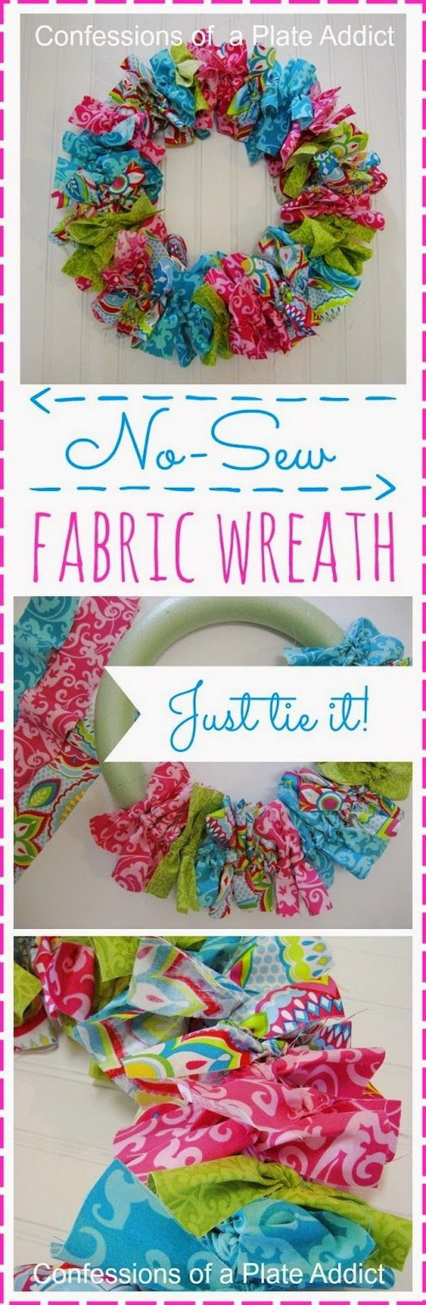 Easy No Sew Fabric Wreath.
