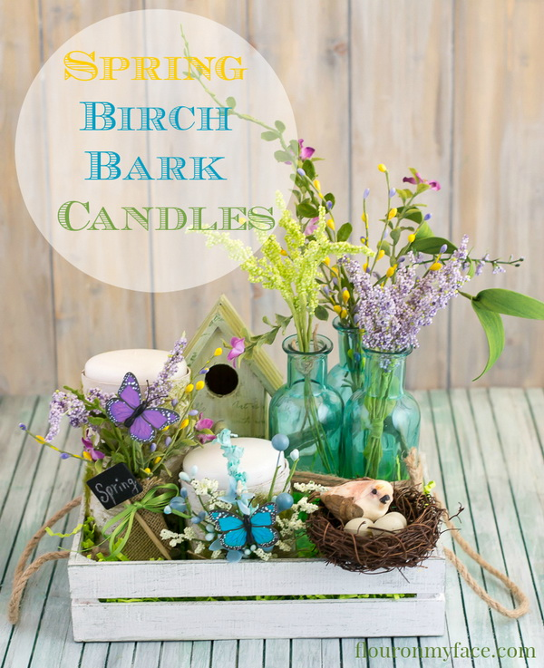 DIY Spring Birch Bark Candles