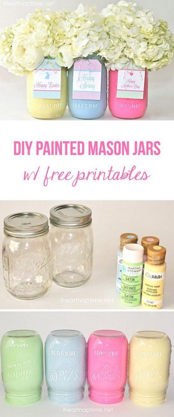 DIY Spring Mason Jars.