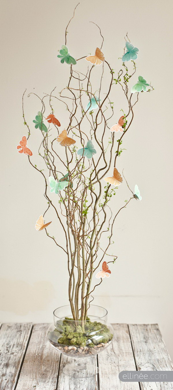 DIY Twig & Butterfly Centerpiece.