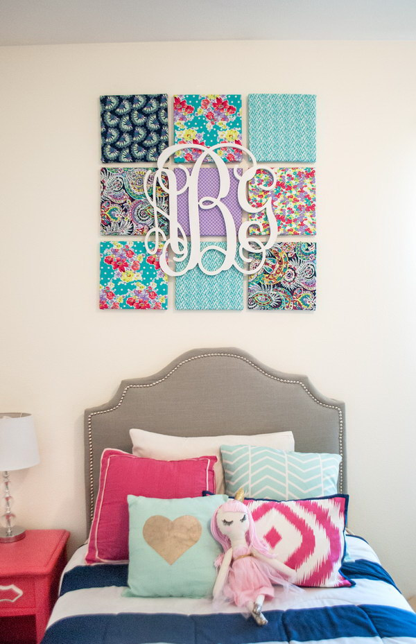 DIY Fabric Canvas and Monogram Wall Art.