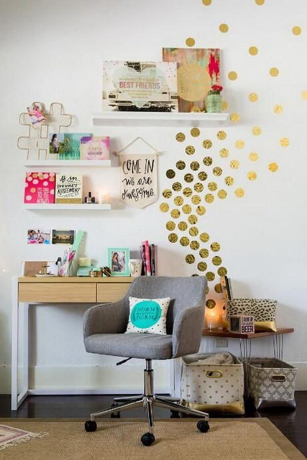 Gold Confetti Dots Wall Art.