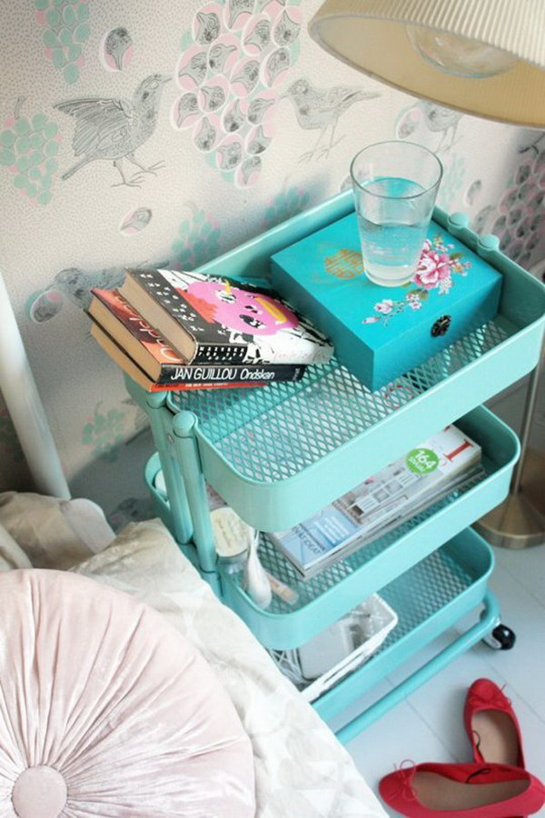 IKEA Cart Upcycled Into Night Stand.