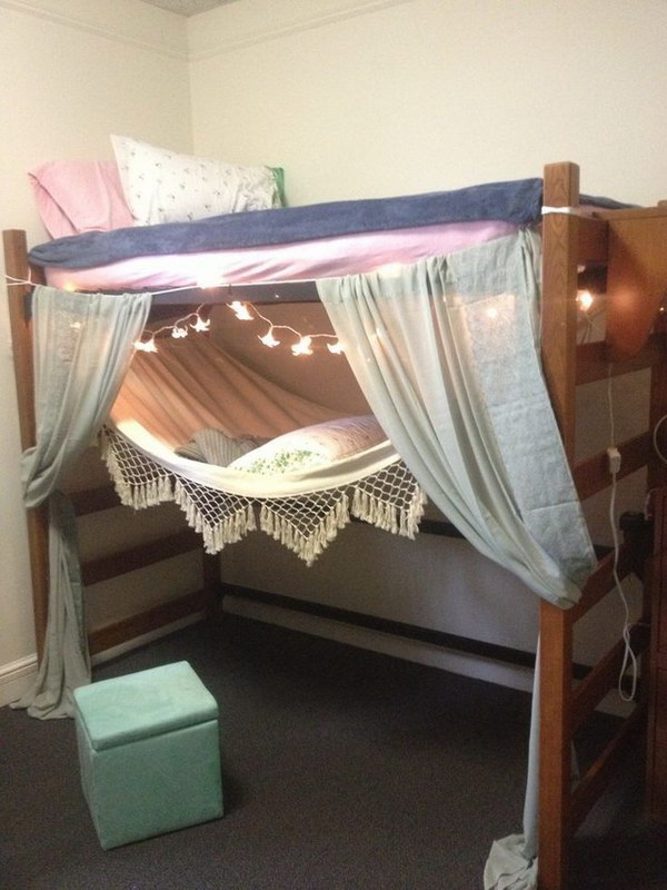 Lofted Bed With Starry Lights And Curtain Design