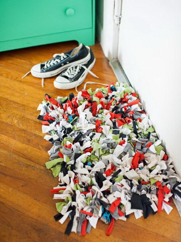 Recycled T-Shirt Doormat.