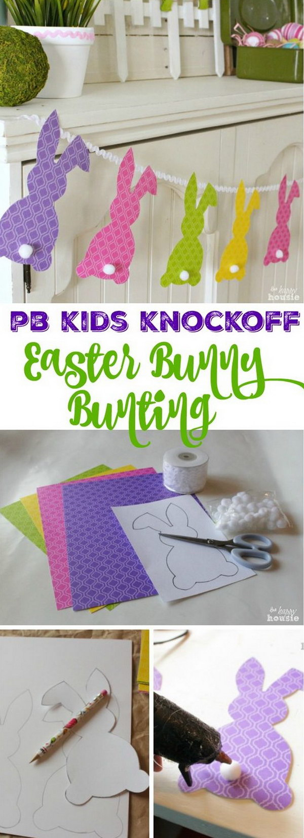 Easy Colorful Easter Bunny Bunting