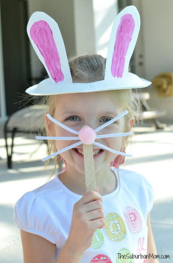 Paper Plate Easter Bunny Ears & Bunny Nose Mask For Kids