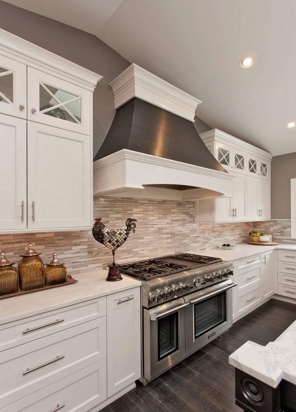 Ordinary White Kitchen Backsplash Ideas Part - 5: White And Grey Linear Tile Backsplash