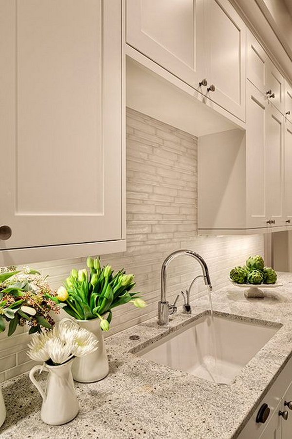Beau White Kitchen With Grayish White Tile Backsplash