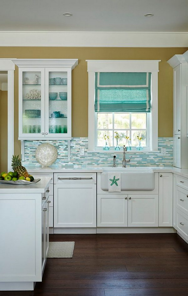 Beach House Kitchen With Shimmery Turquoise 1 4 Tile Backsplash