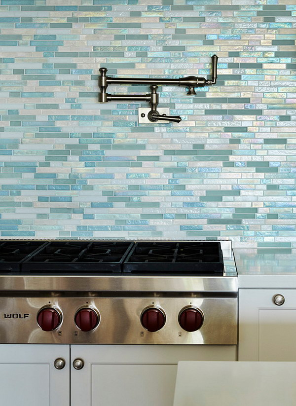 Beach House Kitchen with Shimmery Turquoise 1×4 Tile Backsplash
