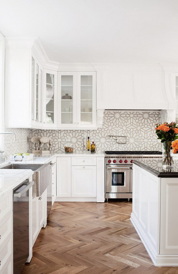 White Kitchen with Interesting Tile Backsplash