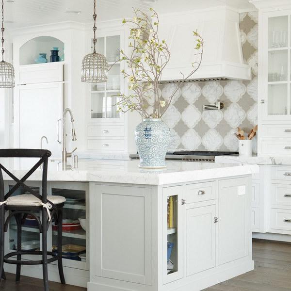 Stunning White And Gray Kitchen With Quatrefoil Tiled Backsplash