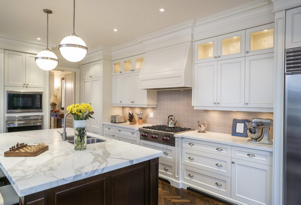 Modern Traditional White kitchen with a Pale Pink Beige Backsplash