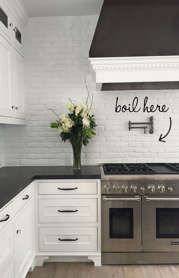 30 awesome kitchen backsplash ideas for your home 2017 - White kitchen brick tiles ...
