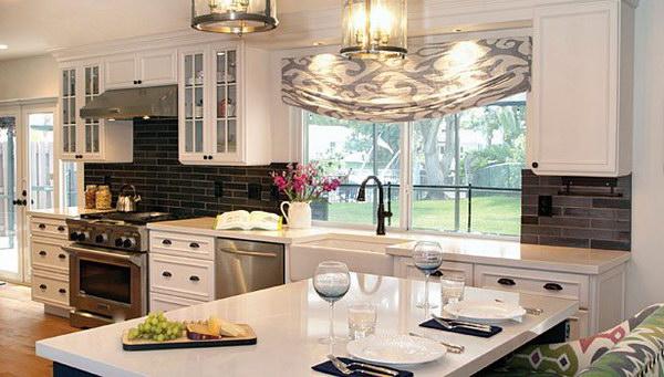 White Kitchen with Grey and Black Brick Backsplash