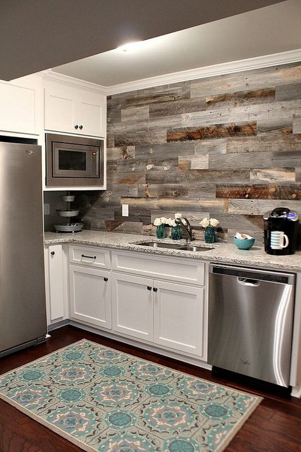 Lovely Basement Kitchen With A DIY Weathered Wood Backsplash Gallery