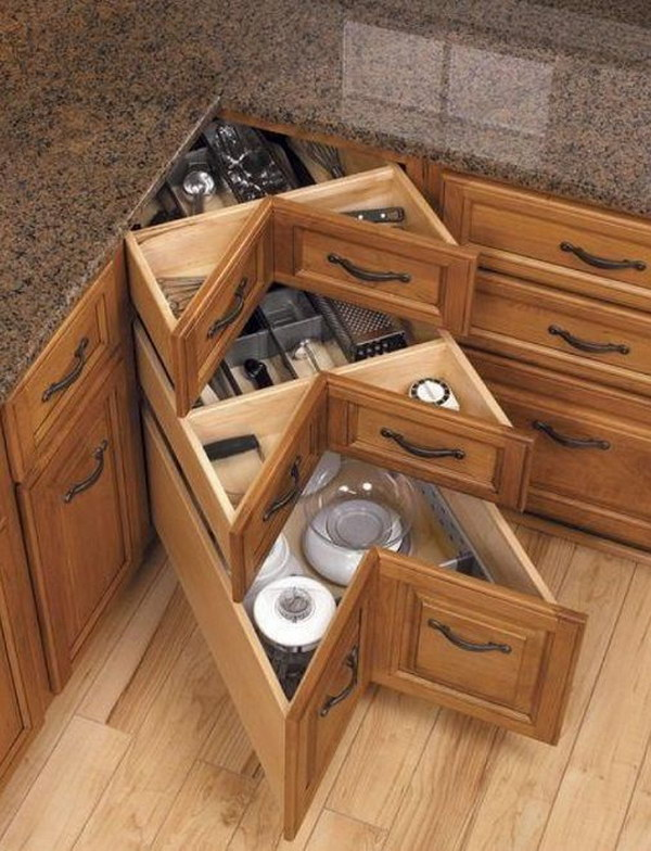 awesome Ideas For Corner Cabinets In A Kitchen #6: DIY Corner Kitchen Drawers